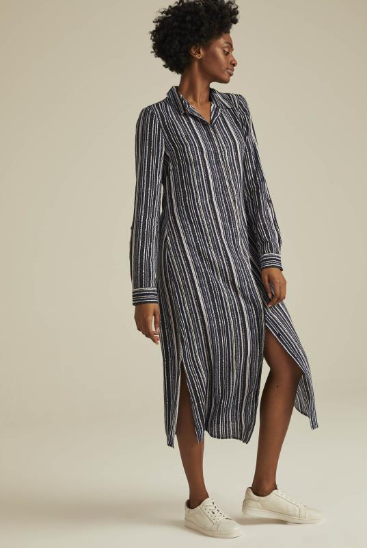 Tall Shirt Dress Stripe Print Shirt Dress