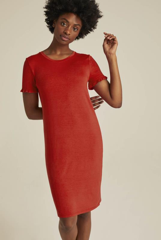 Tall Tunic Dress Red Frill Sleeve Mini Jersey Dress