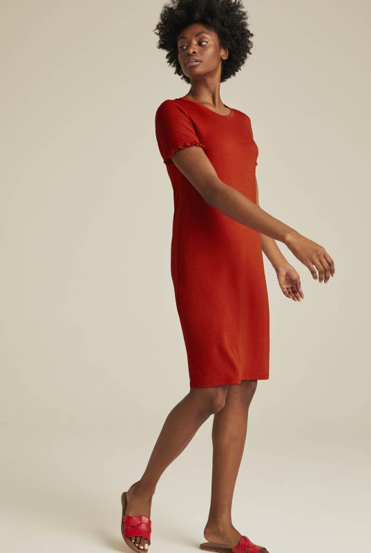 Red Frill Sleeve Mini Jersey Dress