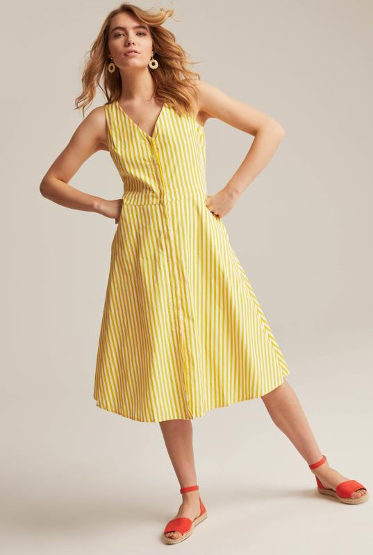 Yellow A-Line Stripe Cotton Day Dress