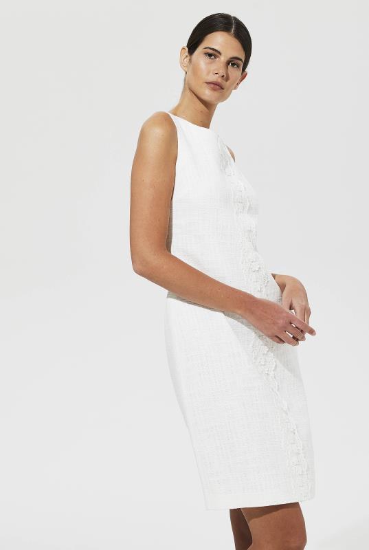 Karl Lagerfeld Paris White Lace Front Tweed Shift Dress