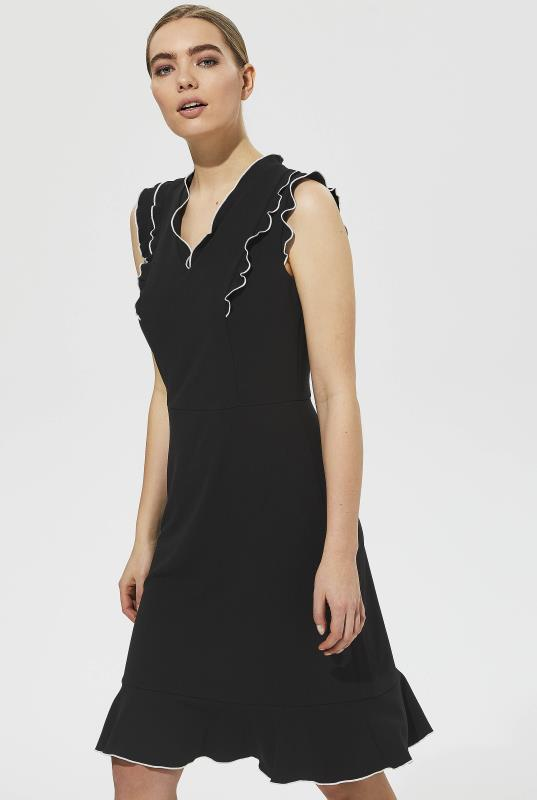 Karl Lagerfeld Paris Fluted Hem Ruffle Neck Dress