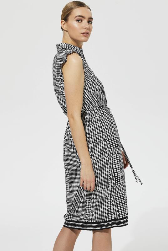Karl Lagerfeld Paris Black and White Tie Waist Dot Shirt Dress