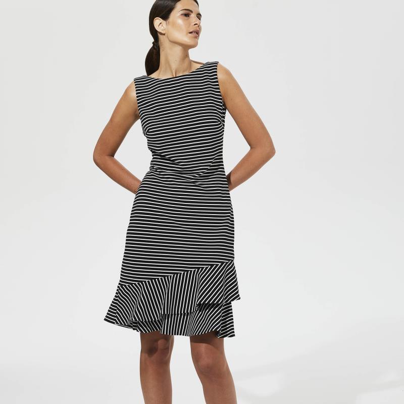 KARL LAGERFELD Black Stripe Asymmetric Hem Dress