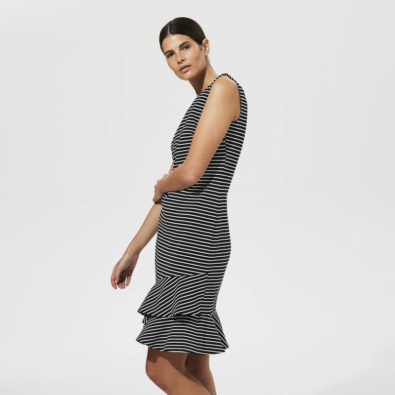 KARL LAGERFELD Black Stripe Asymmetric Hem Dress
