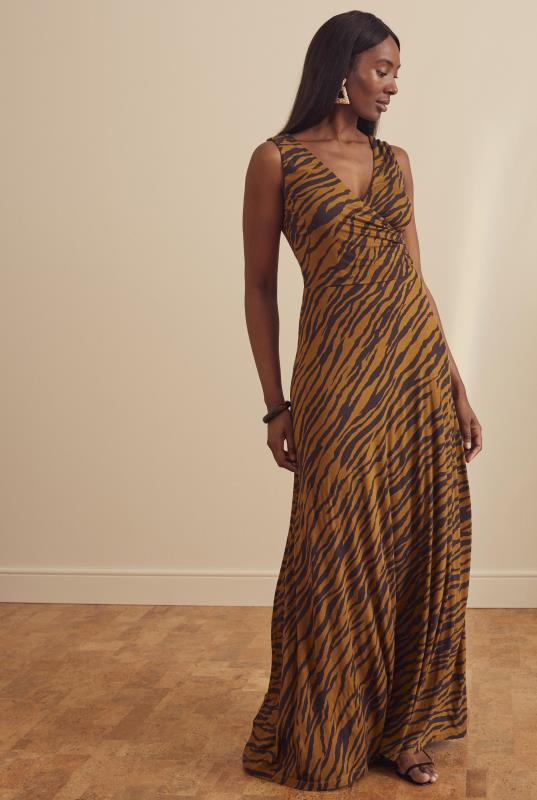 Brown Tiger Print Wrap Maxi Dress