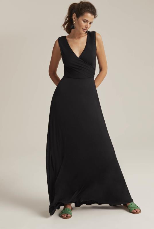 Tall Fit and Flare Dress Black Wrap Maxi Dress