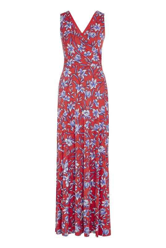 Tall Fit and Flare Dress Red Floral Wrap Maxi Dress
