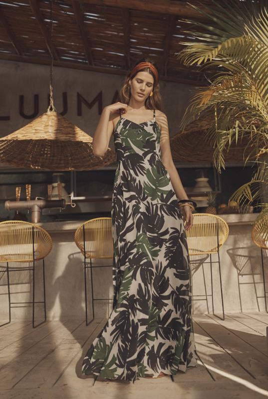 Tall Fit and Flare Dress Printed Chiffon Maxi  Dress