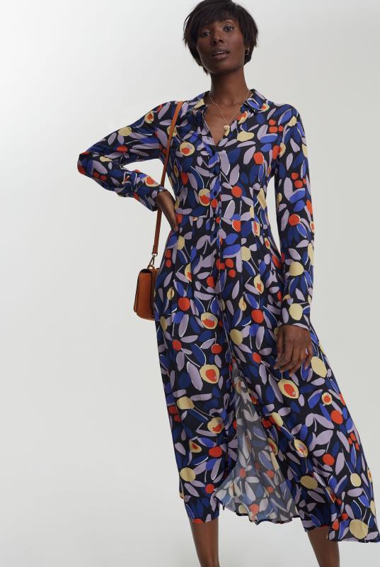Navy Citrus Print Pleat Detail Shirt Dress