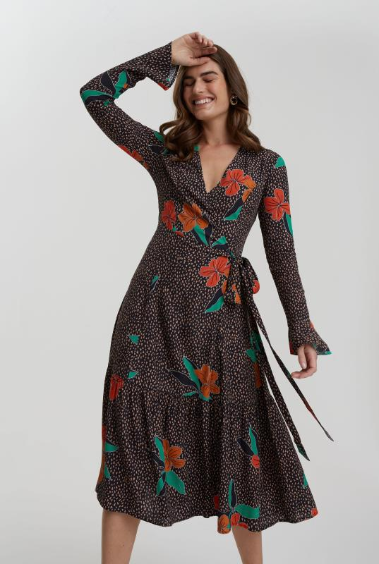 Black & Red Floral Printed Tiered Wrap Dress