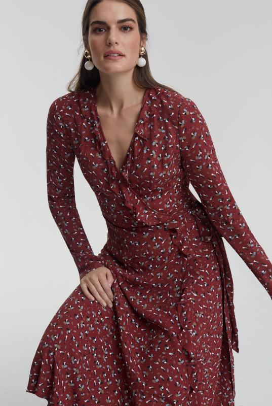Burgundy Printed Ruffle Wrap Dress