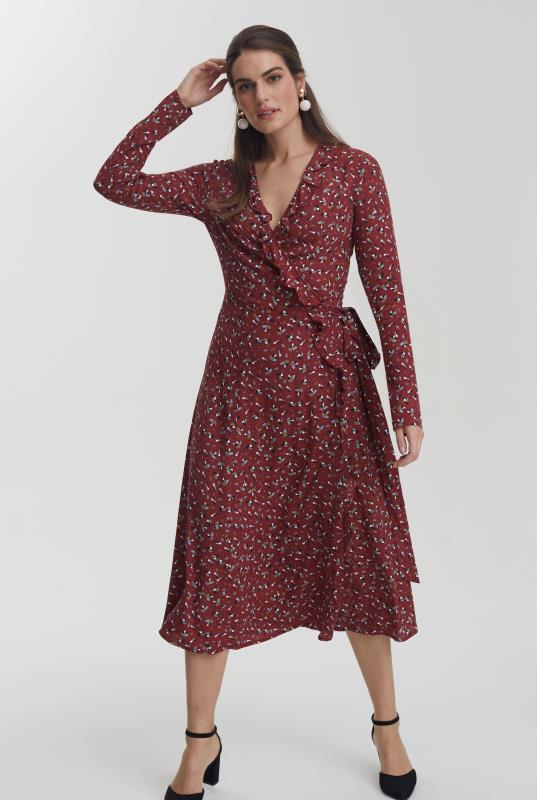 Burgundy Printed Ruffle Wrap Dress