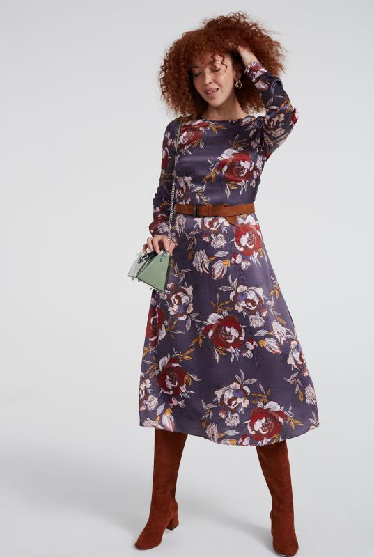 Purple Floral Fit & Flare Dress