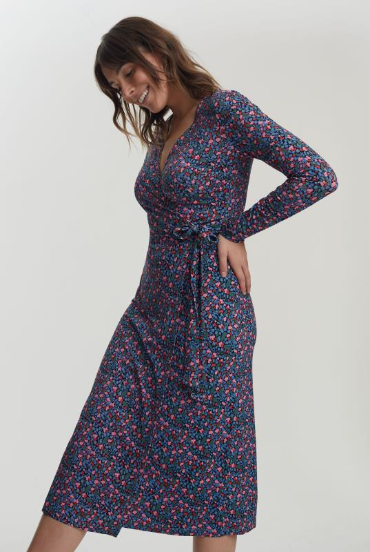 Blue Floral Print Wrap Dress
