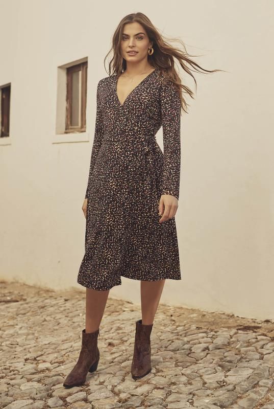 Tall Wrap Dress Brown Animal Print Jersey Wrap Dress