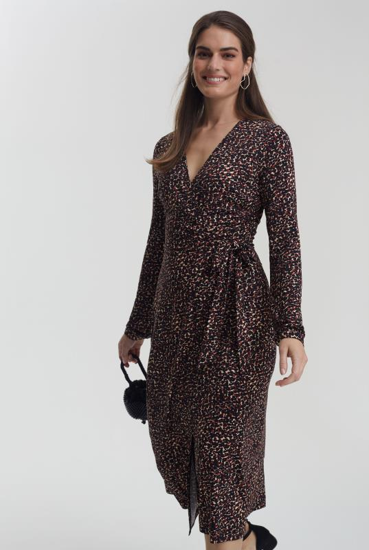 Brown Animal Print Jersey Wrap Dress