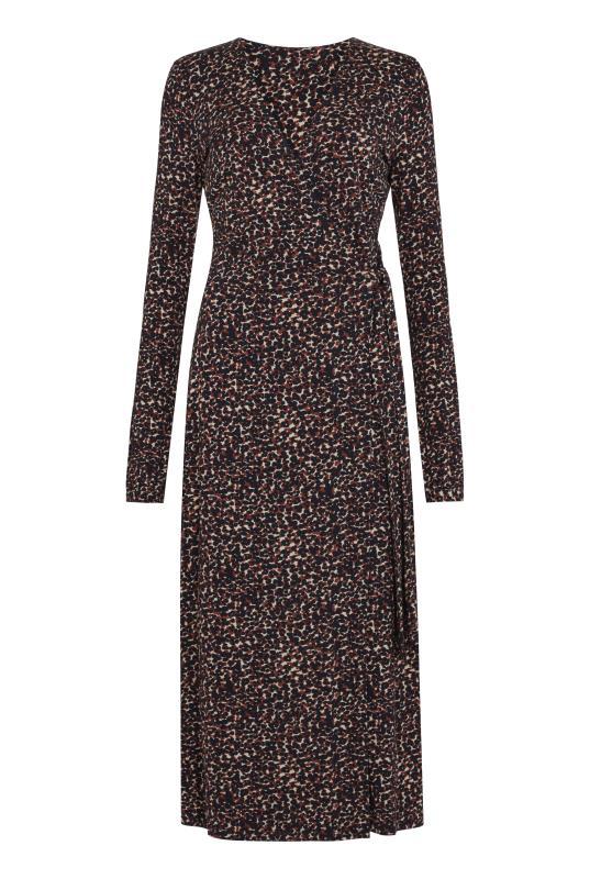 Brown Animal Print Jersey Wrap Dress