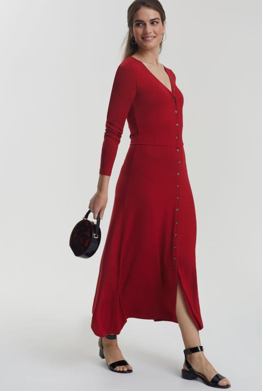 Tall Tea Dress Button Front Jersey Dress