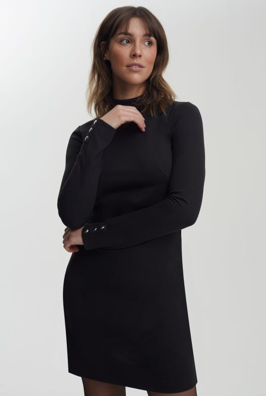 Tall Shift Dress Black High Neck Jersey Dress