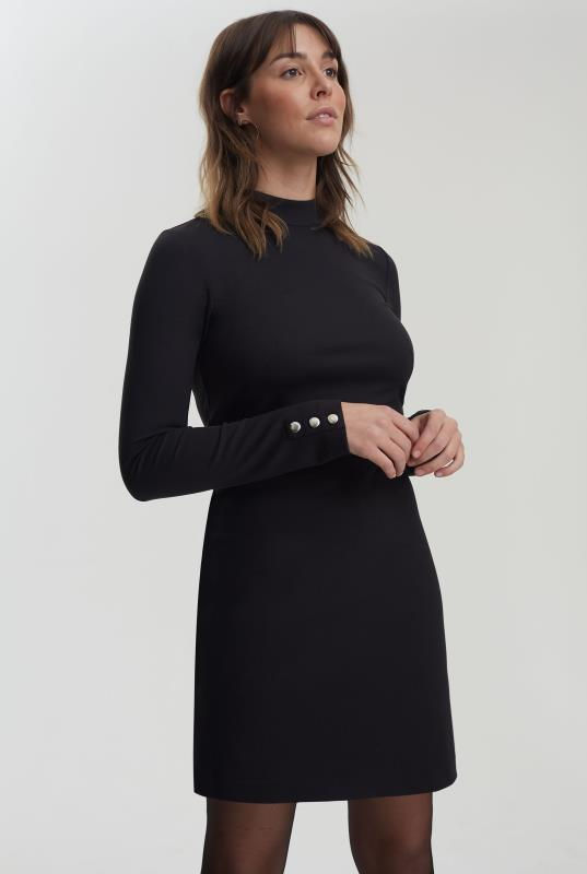 Black High Neck Jersey Dress