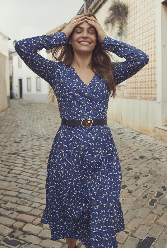Blue Modern Ditsy Wrap Midi Dress