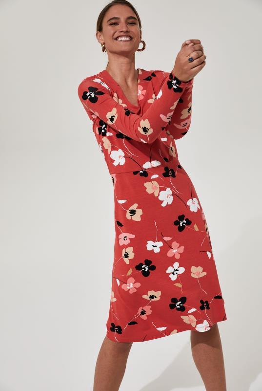 Red Floral Tea Jersey Dress