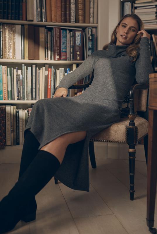 Tall Straight Dress Grey Soft Jersey Cowl Neck Midi Dress
