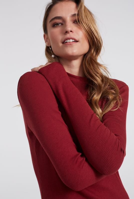 Red Ribbed High Neck Midi Dress