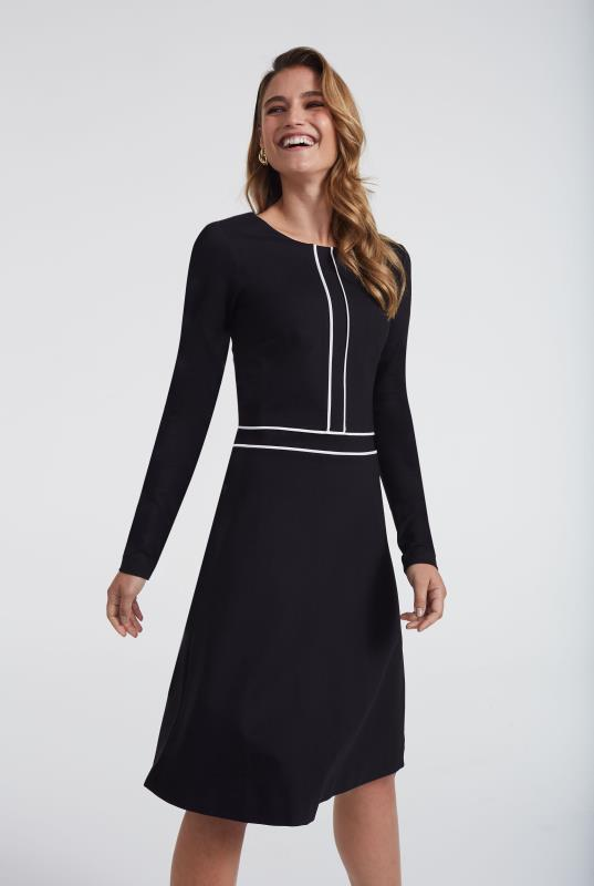 Black Ponte Contrast Shift Dress