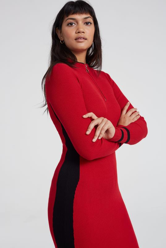 Red Zipped Neck Rib Knitted Dress