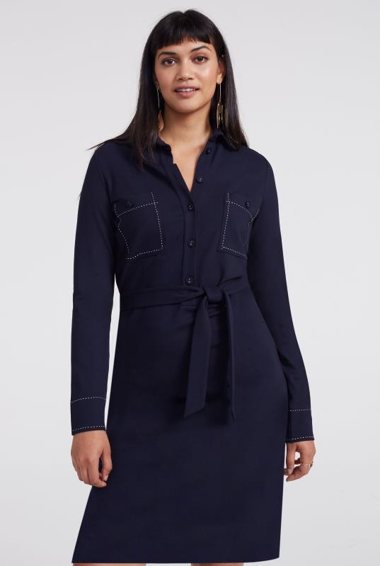 Navy Contrast Stitch Jersey Shirt Dress