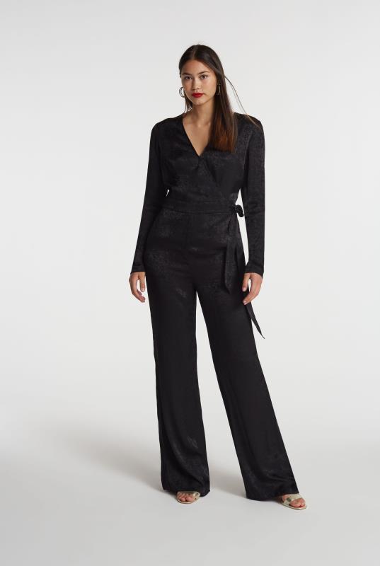 Black Jacquard Wrap Front Jumpsuit