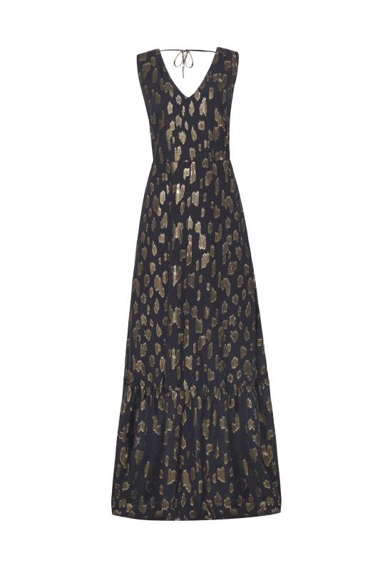 Gold Metallic Clipped Maxi Dress
