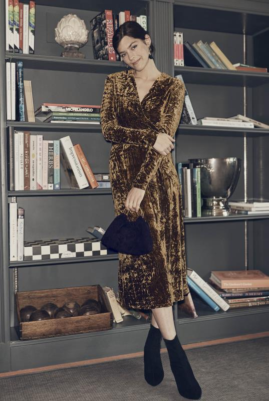 Tall Wrap Dress Gold Crushed Velvet Wrap Dress