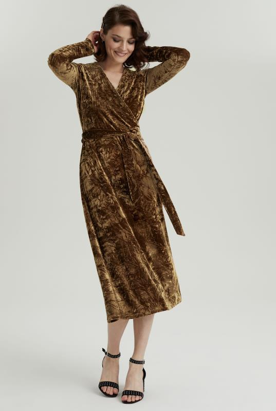 Gold Crushed Velvet Wrap Dress