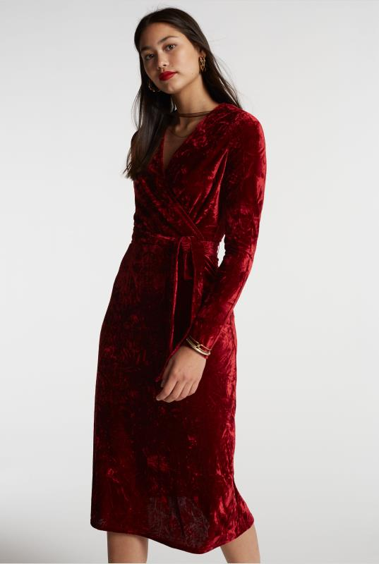 Tall Wrap Dress Red Crushed Velvet Wrap Dress
