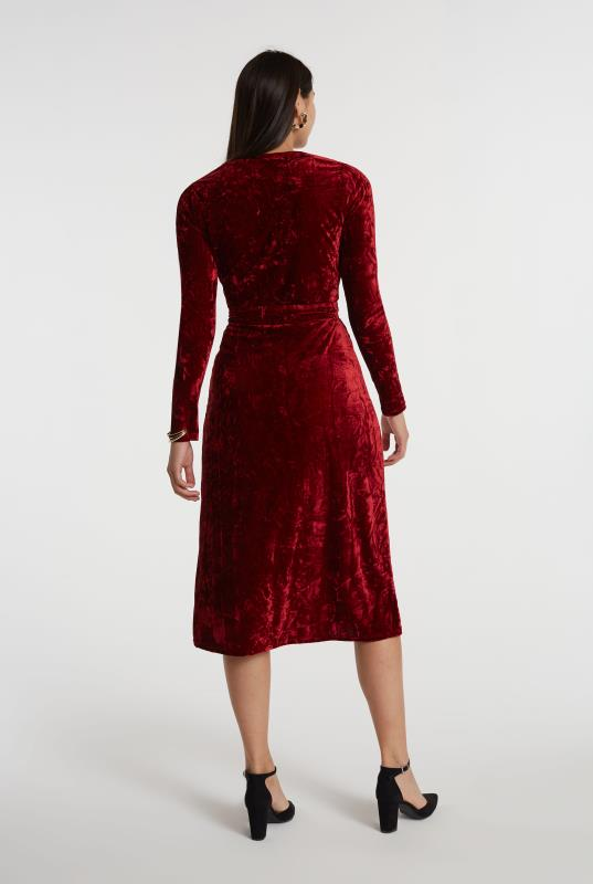 Red Crushed Velvet Wrap Dress