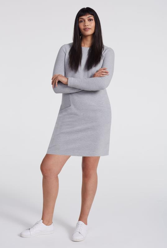 Grey Ottoman Mini Shift Dress
