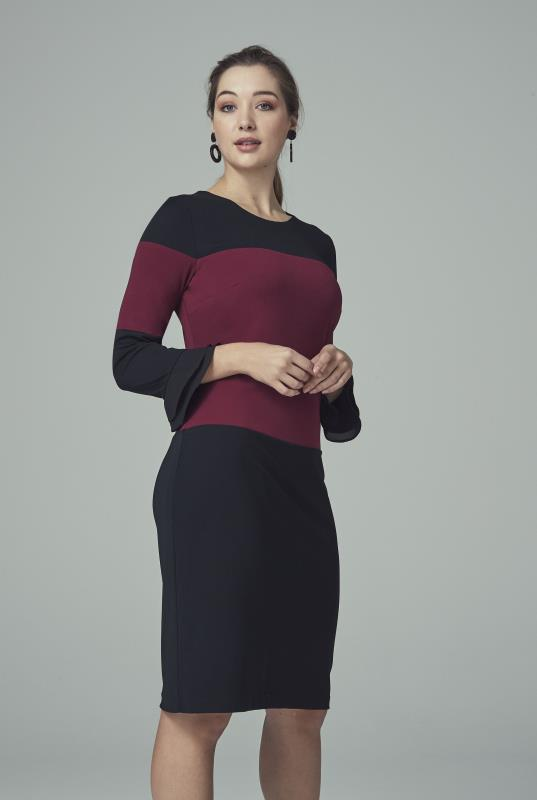 Karl Lagerfeld Paris Navy and Burgundy Colour Block Dress