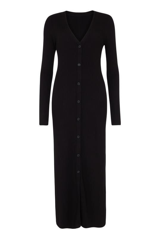 Black Ribbed Button Front Dress