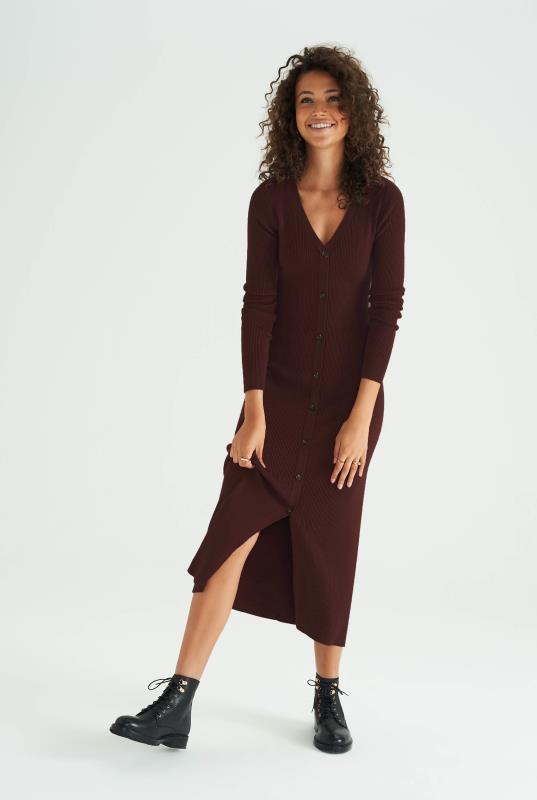 Brown Ribbed Button Front Dress