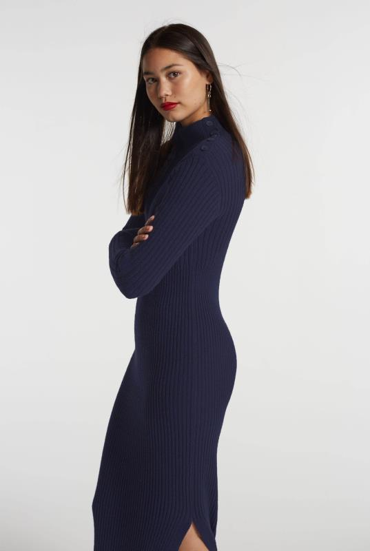 Navy Roll Neck Knitted Midi Dress