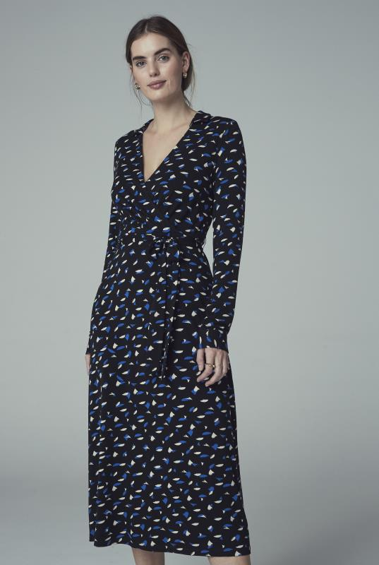 Black Print Collared Jersey Wrap Midi Dress