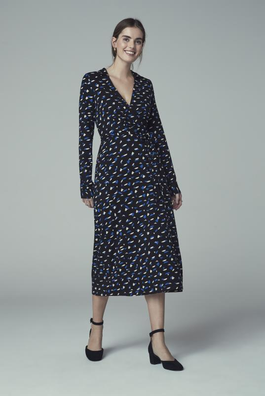 Black Print Collared Jersey Wrap Midi Dress