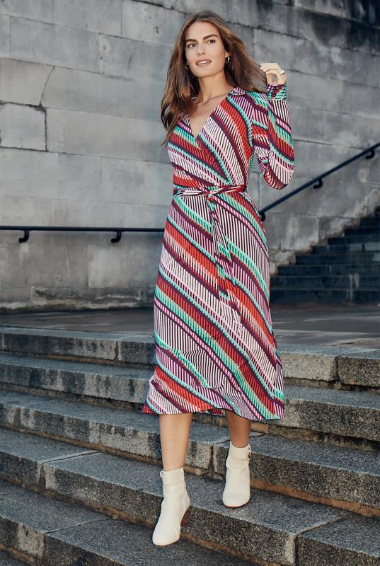 Tall Wrap Dress Print Collared Jersey Wrap Dress