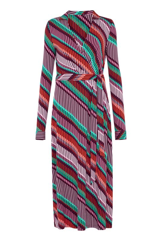 Print Collared Jersey Wrap Dress
