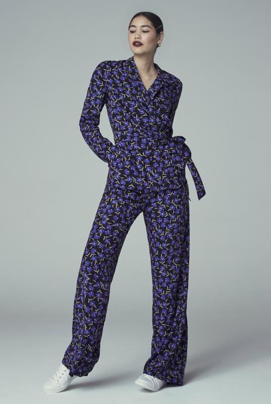 Navy Floral Print Wrap Jumpsuit