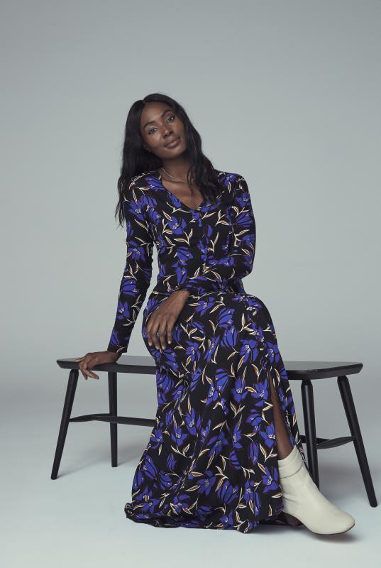 Black Floral Print Button Through Maxi Dress