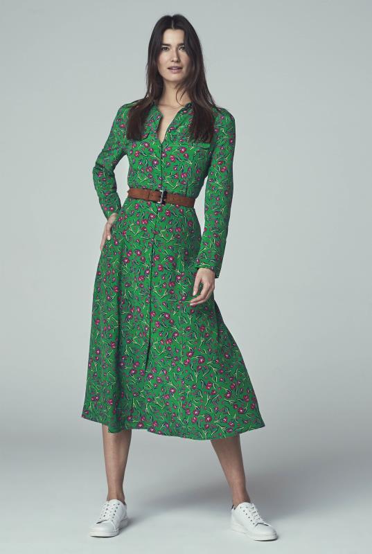 Green Floral Print Shirt Dress